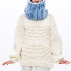 Textured cardigan in white and the collar in placid blue #ilovemrmittens