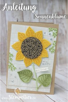 Anleitung Tutorial stampin Up thoughtful branches vintage leaves stempeltier sonnenblume wald der worte sunflower how to