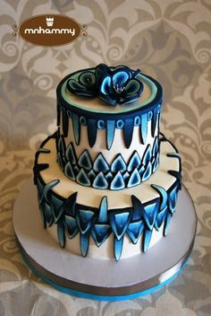 Cool polymer clay cane effect on cake  ♥