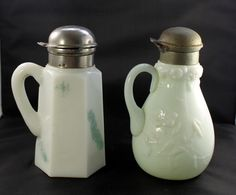 Milk Glass Antique Syrup Pitchers 8 Sided Lily Flower Metal Lid Applied