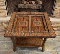 Moroccan / Syrian beautiful hand inlaid  backgammon & chess folding game…