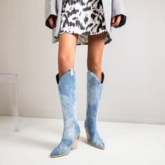 Snake-effect High Heel Cowgirl Boots Knee High Boots for   Up2Step Short Ankle Boots, Knee High Boots, Ankle Booties, High Heels, Cowgirl Boots, Riding Boots, Fashion Boots, Fashion Outfits, Suede Heels