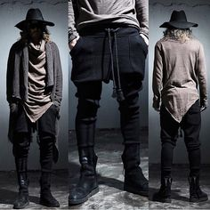 d783be83577 Featured  Black Wool Floppy Hat Brown Large Cowl Neck Shirt Black Knit  Joggers PressPlvy.