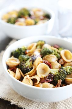 Creamy Goat Cheese Pasta with Roasted Broccoli and Sun-Dried Tomatoes Recipe on twopeasandtheirpod.com This simple and healthy pasta dish is perfect for busy weeknights!