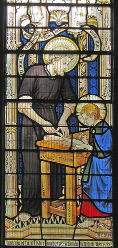 Saint Joseph and the Child Jesus. This must have been installed in 1913 by Comper at St Mary & St John in Cowley.