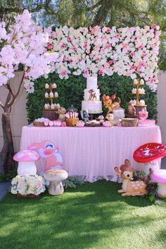 Loving this gorgeous Bambi Birthday Party! The dessert table is amazing! See mor. Loving this gorgeous Bambi Birthday Party! The dessert table is amazing! See more party ideas and s 1st Birthday Party For Girls, Birthday Table, Birthday Party Decorations, Baby Shower Decorations, Garden Decorations, 1st Birthday Girl Party Ideas, Party Themes, Park Birthday, Diy Decoration