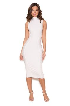 Clothing : Bandage Dresses : 'Cordella' White Turtle Neck Bandage Midi Dress