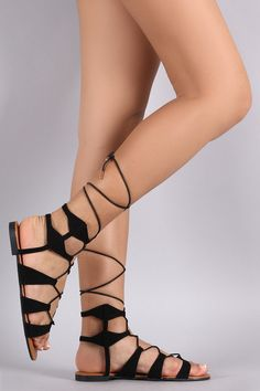 734be27b08b Bamboo Lace Up Ankle Gladiator Flat Sandals Flat Sandals