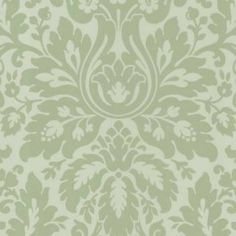 Love this soft green damask wall paper. Light green and neutral colours for lounge room
