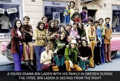 A young Osama Bin Laden with his family in Sweden during the 1970s. Bin Laden is second from the right.