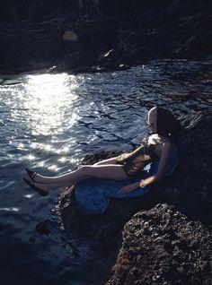 The Photos: Heavenly Creature - Burberry Prorsum jersey plissé swimsuit. Charvet scarf