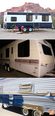 This cool travel trailer had some miles on it, but it was still in good shape. A new paint job was part of a full makeover of this camper by Mallory and Savannah, who blog at Classy Clutter. They show exactly how they repainted the trailer, from prep to detailing. See it on The Home Depot Blog.
