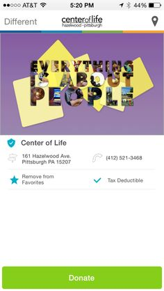 Center of Life in Pittsburgh, PA #GivelifyNonprofits