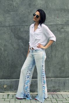 Moda Custom: Meu look: calça flare de fuxico!