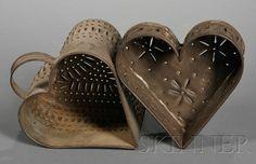 Pierced Tin Cheese Strainers, America, 19th century