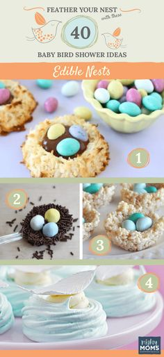 Feather Your Nest with These 40 Baby Bird Shower Ideas - MightyMoms. Bird Theme Parties, Bird Birthday Parties, Party Food Themes, Bird Party, Birthday Ideas, Baby Shower Themes, Shower Ideas, Eggs For Baby, Baby Shower Invitations