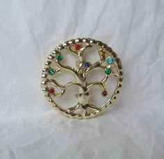 Vintage Tree of Life Circle Brooch / Pin by MargsMostlyVintage, $11.00