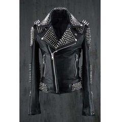 <Strong>Jacket Description</Strong><br/> <Ol> <li>Studded Jacket made with 100 % Genuine Top Quality Cowhide Leather</li><br/> <li>Stainless Steel Silver studs</li><br/> <li>Cropped, Vintage</li><br/> <li>Front back Studded</li><br/> <li>Polyester Inner Lining & inside Pocket</li><br/> <li... Leather Kilt, Studded Leather Jacket, Motorcycle Leather, Biker Leather, Cowhide Leather, Leather Jackets, Biker Style, Jacket Style, Jacket Men
