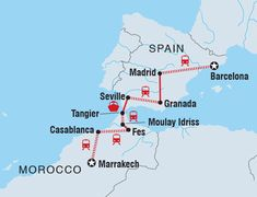 Travel from Marrakech to Barcelona on a tour through Morocco and Spain. Visit Marrakech, Casablanca, Fes, Moulay Idriss, Tangier, Seville, Granada, Madrid and Barcelona.