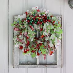 Christmas Rag Wreath from Etsy but could make yourself with Christmas fabric and pinking shears.
