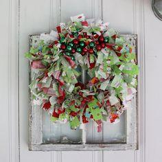 Colorful Christmas Rag Wreath with Riley Blake Fabric by pamwares