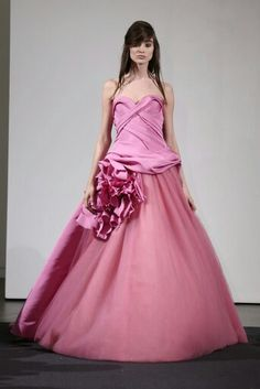 The Vera Wang Bridal Fall 2014 Collection Dazzles in Pink Bridesmaid Dresses, Prom Dresses, Formal Dresses, Bridesmaids, Vera Wang Bridal, Fashion Forecasting, Quinceanera Dresses, Celebrity Weddings, Strapless Dress Formal
