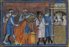 Die Mameluken ermorden Sultan Turan Schah, rechts daneben der gefangene heilige Ludwig. Französische Miniatur aus dem 14. Jahrhundert.