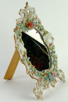 Old Italian Capodimonte Porcelain Floral Decorations Table Mirror