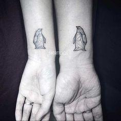 Geometric Penguin Wrist Tattoos