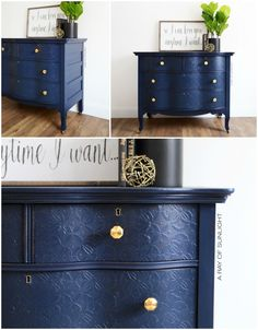 The Peacoat Dresser with Textured Drawers #DIY #furniturepaint #paintedfurniture #chalkpaint #textured #navy #dresser #serpentine #stencil #blue #countrychicpaint - blog.countrychicpaint.com