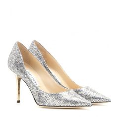 Jimmy Choo Agnes Glitter Pumps ($485) ❤ liked on Polyvore featuring shoes, pumps, heels, silver, silver shoes, heels & pumps, jimmy choo pumps, silver pointed toe pumps e jimmy choo shoes