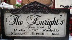 Beautiful Personalized Plaque with Family Names ~ signsfordesign.com