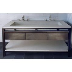 Double Vanity Trough Sink undermount | Freestanding, contemporary, concrete double trough sink measuring at ...