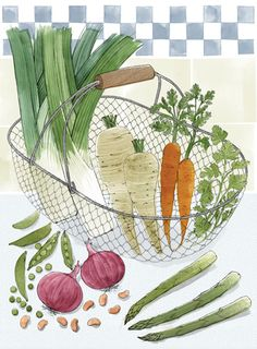 Another Alice Tait print. May have to start a new folder just for her work! Art And Illustration, Vegetable Illustration, Food Illustrations, Kitchen Prints, Kitchen Art, Food Design, Watercolor Food, Food Painting, Fruit Art