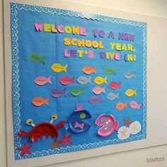 Beginning of the year bulletin board & I have the children work in cooperative groups to make the fish ...