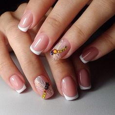 Everyday nails, French manicure news 2017, French nail art, Medium nails, Nails with dragonfly, Nails with stones, ring finger nails, Spectacular nails