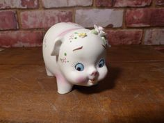 PORCELAIN PIG FIGURINE - Human-like expression! by JusFunkinAround on Etsy