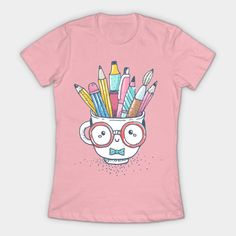 Art supplies Tshirt This t-shirt is Made To Order, one by one printed so we can control the quality. Art Teacher Outfits, Teacher Wear, Teacher Style, Teacher Shirts, Teacher Clothes, Cute Cups, Textiles, Art Club, Teaching Art
