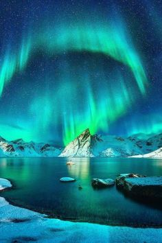 Nordlichter über den Lofoten in Norwegen. Bildquelle unbekannt