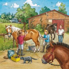 Praatplaat manege Painting For Kids, Art For Kids, Picture Comprehension, Hidden Pictures, Farm Art, Horse Portrait, Country Scenes, Farm Theme, Picture Description