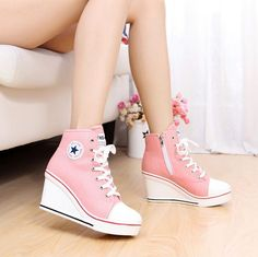 Casual Lace Up Canvas High Heel Women Shoes