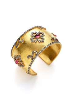 Kanupriya   Pink Tourmaline & CZ Flower Cuff  $178 Gilt