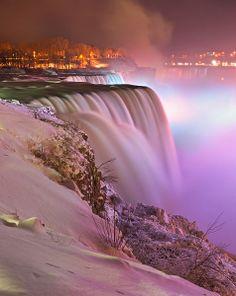 Niagara falls, in winter, at night.