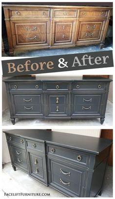 Attirant Distressed Black Vintage Dresser   Before U0026 After