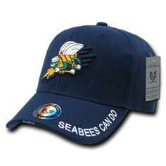4b1ae3d4a26 Navy Seabees Military Branch Hat also feature the branch name embroidered  on the edge and and top of the sandwiched bill and it s adjustable hook and  loop ...