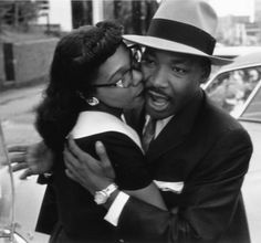 Civil rights activist Martin Luther King, Jr. with his wife, Coretta Scott King Photographed by Charles Moore in Montgomery, AL, Martin Luther King, Martin King, Coretta Scott King, My Black Is Beautiful, Black Love, Beautiful People, Black Art, Beautiful Wife, Black Style