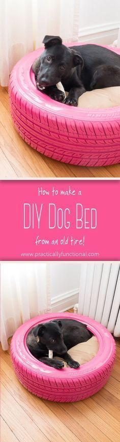 Turn an old tire into a DIY dog bed: It's quick and easy to do, and a great way to recycle an old tire! All you need is spray paint and a round bed! #DogProducts