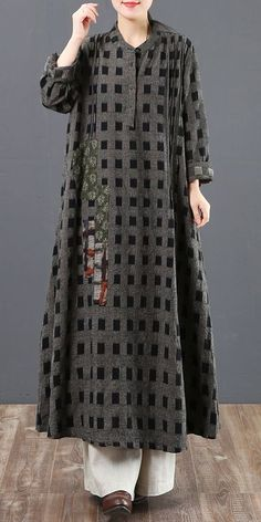 Women Loose Plaid Cotton Linen Maxi Dresses For Spring 5129 # Fitness mulher Women's Dresses, Linen Dresses, Maxi Robes, Mode Hijab, Hijab Fashion, Fashion Dresses, Mannequins, Cotton Linen, The Dress