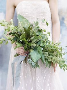 amazing textural all green bridal bouquet captured by Elisa Bricker