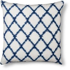 Throw Pillow Square Ikat Geometric Navy - Threshold™ : Target ($25) ❤ liked on Polyvore featuring home, bed & bath, bedding, geometric bedding, navy blue ikat bedding, navy blue bedding, ikat bedding and navy bedding